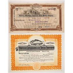 Two Bullfrog Area Stock Certificates