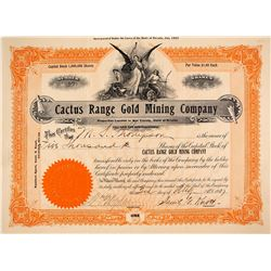 Cactus Range Gold MIning Company Stock Certificate