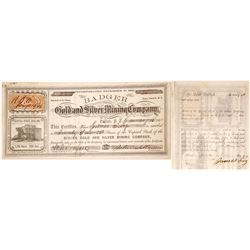 Badger Gold & Silver Mining Co. Stock Certificate, Desert Mining District, Nevada Territory, 1864