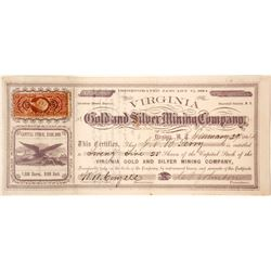 Virginia Gold & Silver Mining Co. Stock Certificate, Desert Mining District, Nevada Territory, 1864
