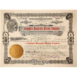 Columbia Mountain Mining Company Stock Certificate: Wingfield Collection