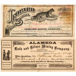 Two Cornucopia District, Elko County, Nevada Mining Stock Certificates