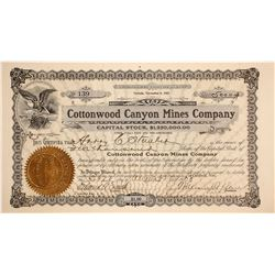 Cottonwood Canyon Mines Company Stock Certificate