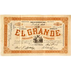 El Grande Mining Co. Stock Certificate, 1882, Santa Fe Mining District