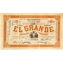 El Grande Mining Co. Stock Certificate, 1882, Santa Fe Mining District