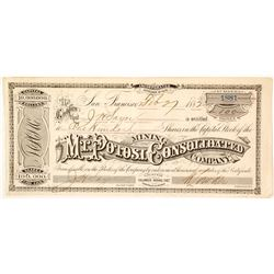 Mt. Potosi Consolidated Mining Co. Stock Certificate, Columbus Mining District, NV 1882
