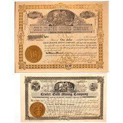 Two Gold Crater Mining Stock Certificates