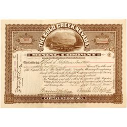 The Gold Creek, Nevada Mining Co. Stock Certificate, 1898 (Nevada Ghost Town)
