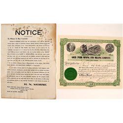 Gold Park Mining & Milling Co. Broadside & Stock Certificate