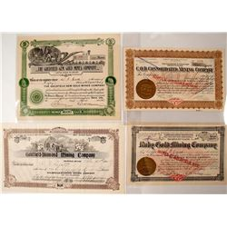 Four Gem Related Goldfield Stock Certificates - one signed by Webb Parkinson