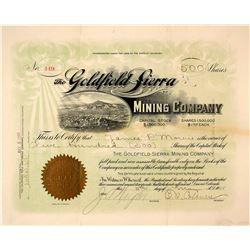 Goldfield Sierra Mining Company Stock Certificate