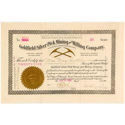 Goldfield-Silver Pick Mining & Milling Co. Stock Certificate, 1906