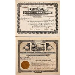 Horseshoe / Great Bend / Gut of Goldfield Mining Stock Certificates