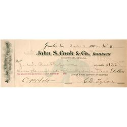 Jumbo Mining Company of Goldfield Check