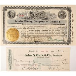 Jumbo Mining Company of Goldfield Stock and Check: Wingfield Collection