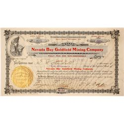 Nevada Boy Goldfield Mining Company Stock signed by Tasker Oddie