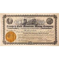 Tonopah Gold Mountain Mining Company Stock signed by Key Pittman
