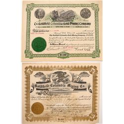 Two Goldfield-Columbia Mining Stock Certificates
