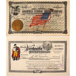 Two Patriotic Goldfield, Nevada Stock Certificates