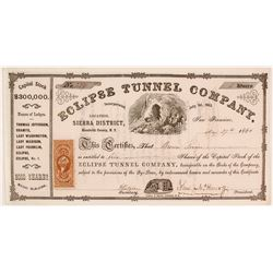 Eclipse Tunnel Company Stock Certificate, Humboldt County, Nevada Territory, 1864