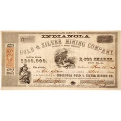 Indianola Gold & Silver Mining Co. Stock Certificate, Humboldt County, Nevada Territory, 1863