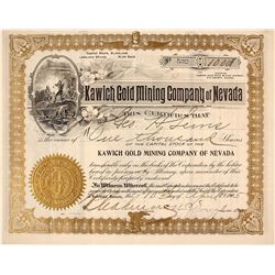 Kawich Gold Mining Company of Nevada Stock Certificate