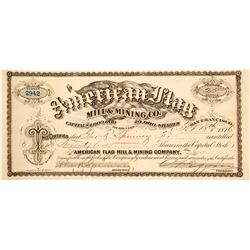 American Flag Mill & Mining Co. Stock Certificate, Lincoln Co., Nevada 1878