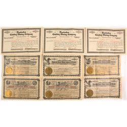 Nine Manhattan, NV Mining Stock Certificates
