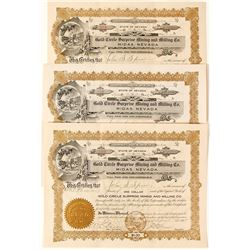 Trio of Gold Circle Surprise Mining & Milling Co. Stock Certificates, Midas, NV,  1908