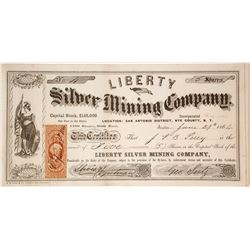 Liberty Silver Mining Co. Stock Certificate, San Antonio District, Nevada Territory, 1864