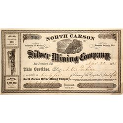 North Carson Silver Mining Co. Stock Certificate, Ormsby County, 1875