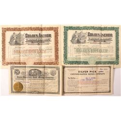 Four Different Tonopah and Goldfield Mining Stock Certificates