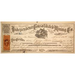Independence Consolidated Mining Co. Stock Certificate, Treasure Hill, 1869