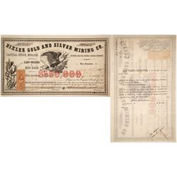 Bixler Gold & Silver Mining Co. Stock Certificate, Gold Hill, Nevada Territory, 1863