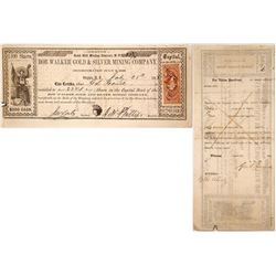 Bob Walker Gold & Silver Mining Co. Stock Certificate, Gold Hill, Nevada Territory 1863