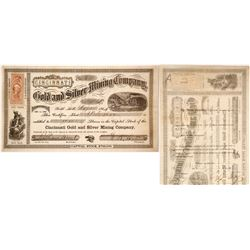 Cincinnati Gold & Silver Mining Co. Stock Certificate, Gold Hill, Nevada Territory 1864