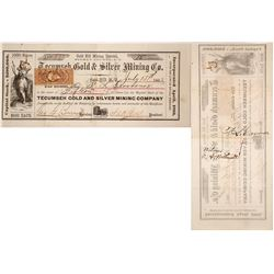 Tecumseh Gold & Silver Mining Co. Stock Certificate, Gold Hill, Nevada Territory, 1863