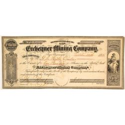 Exchequer Mining Company Stock Certificate, 1865, Gold Hill, NV