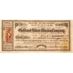 Douglas Gold & Silver Mining Co. Stock Certificate, Blue Sulphur Spring District, Nevada Territory,