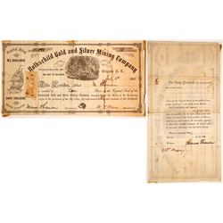Rothschild Gold & Silver Mining Co. Stock Certificate, Blue Sulphur Spring District Nevada Territory