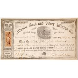 Atlantic Gold & Silver Mining Co. Stock Certificate, Devil's Gate District, Nevada Territory, 1864