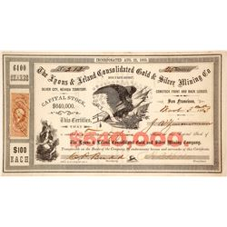 The Lyons & Leland Cons. Gold & Silver Mining Co. Stock Certificate, Devil's Gate, Nevada Territory