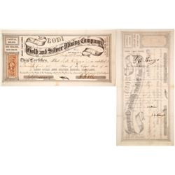 Lodi Gold & Silver Mining Co. Stock Certificate, Palmyra District, Nevada Territory, 1864