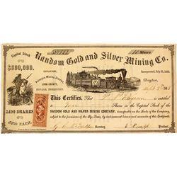 Random Gold & Silver Mining Co. Stock Certificate, Palmyra District,  Nevada Territory, 1863