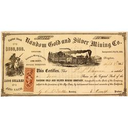 Random Gold & Silver Mining Co. Stock Certificate, Palmyra District,  Nevada Territory, 1863