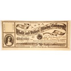 Anna Gold & Silver Mining Co. Stock Certificate, Spring Valley, Nevada Territory, 1864