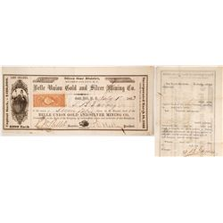 Belle Union Gold & Silver Mining Co. Stock Certificate, Silver Star District, Nevada Territory, 1863