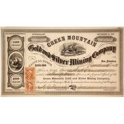 Green Mountain Gold & Silver Mining Co. Stock Certificate, Nevada Territory Issued to N.A. Chandler