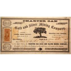 Charter Oak Gold & Silver Mining Co. Stock Certificate, Virginia District, Nevada Territory, 1863