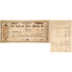 Ball Gold & Silver Mining Co. Stock Certificate, Virginia City, Nevada Territory, 1863